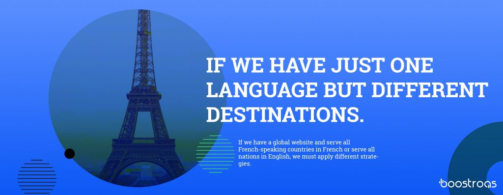If we have a global website and serve all French-speaking countries in French or serve all nations in English, we must apply different strategies.