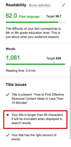 Semrush -readability score check