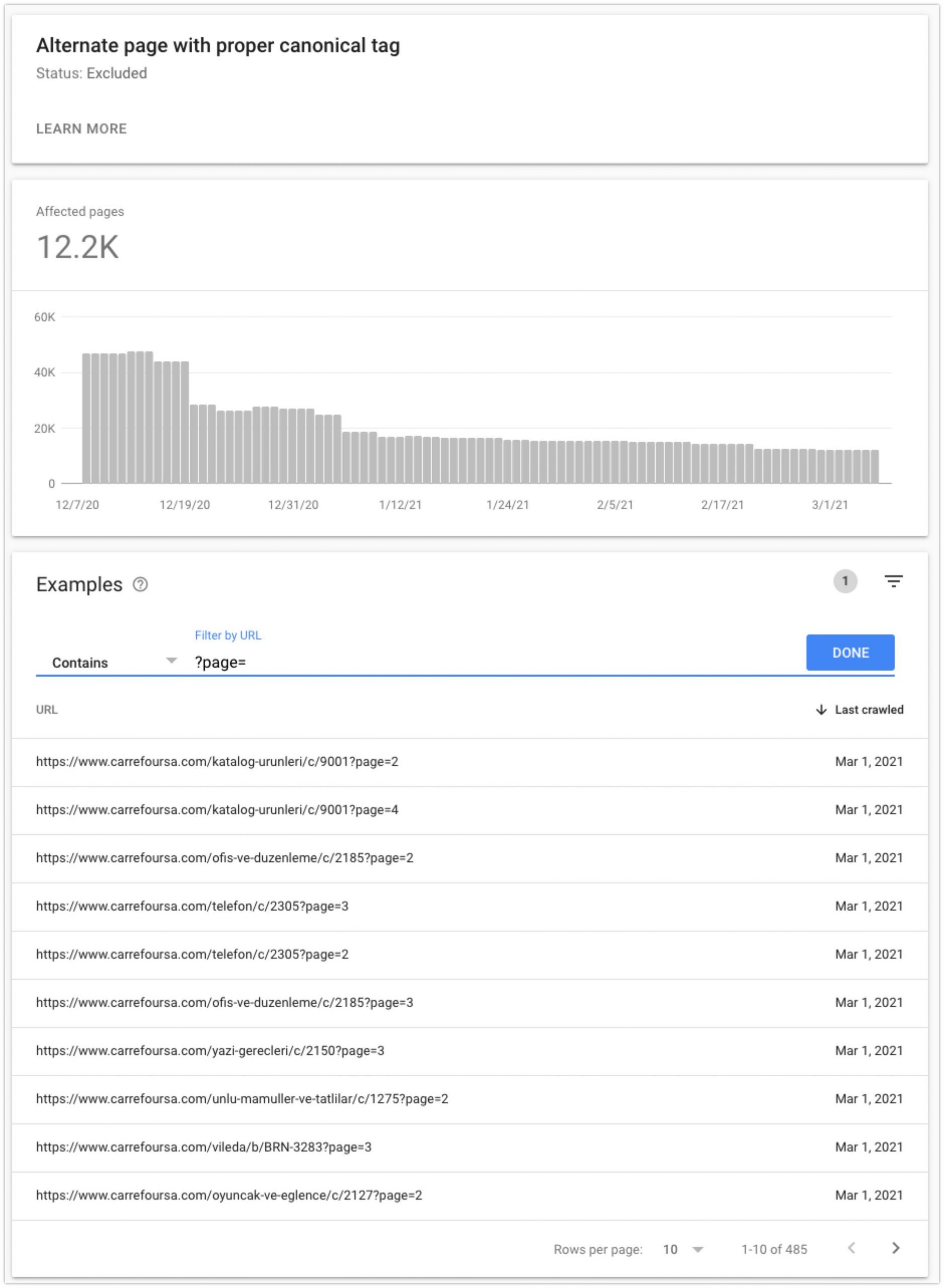 Google Search Console, Index Coverage, Alternate page with proper canonical tag - report