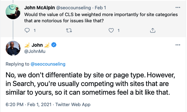 JohnMueller-Tweet-we don't differentiate by site or page type