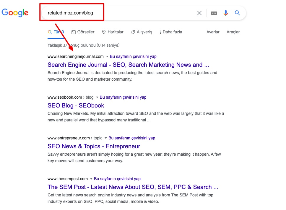 How to use related search operator to find competition
