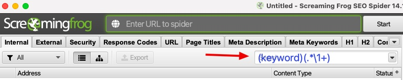 Where to insert regex code to filter pages with specific keyword in Screaming Frog SEO Spider